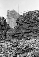 Barbican construction, City of London, with old London Wall, 1960's.